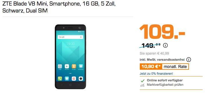 ZTE Blade V8 Mini, Smartphone, 16 GB, 5 Zoll, Schwarz, Dual SIM - jetzt 23% billiger