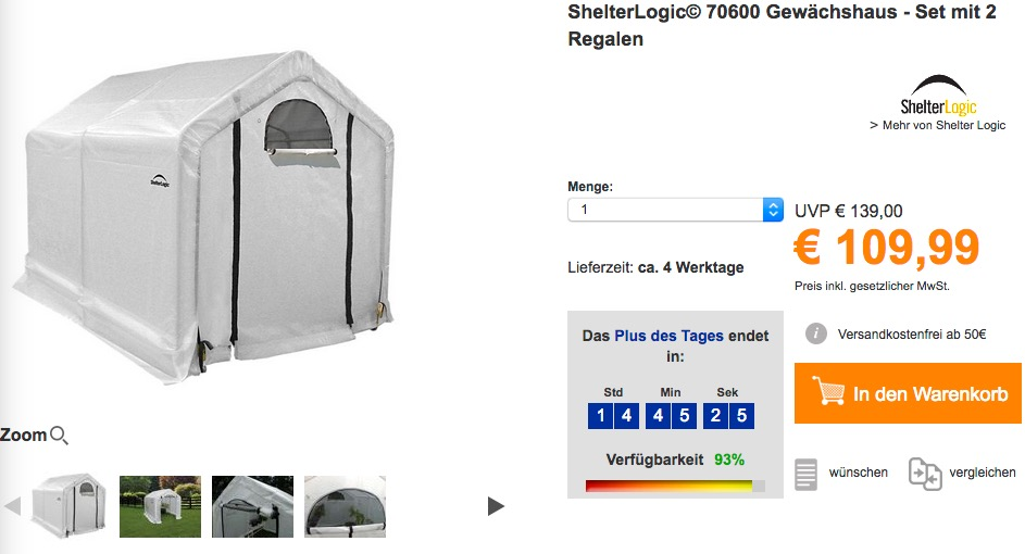 Shelterlogic C 70600 Gewachshaus Set Mi Fur 109 99 21