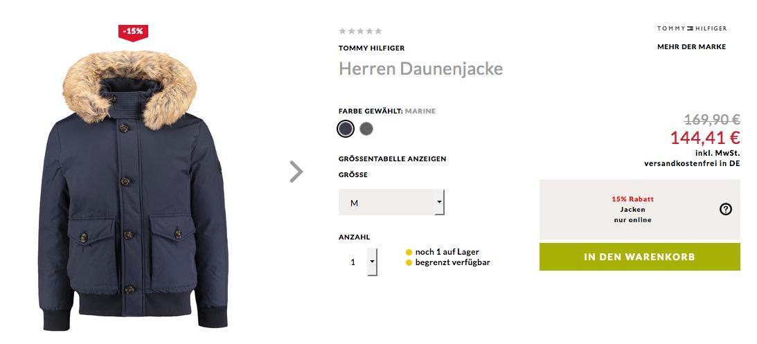 6943292e9b6b Tommy Hilfiger Herren Daunenjacke Hampton ... für 144,41€ (-15%)