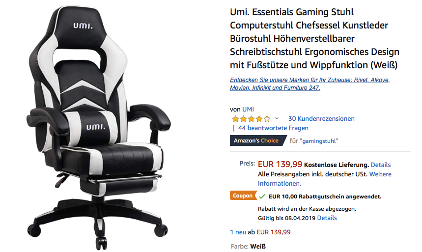 Für Gaming Stuhl Fußstüt 99€7 Mit UmiEssentials 129 3Sc5L4ARjq